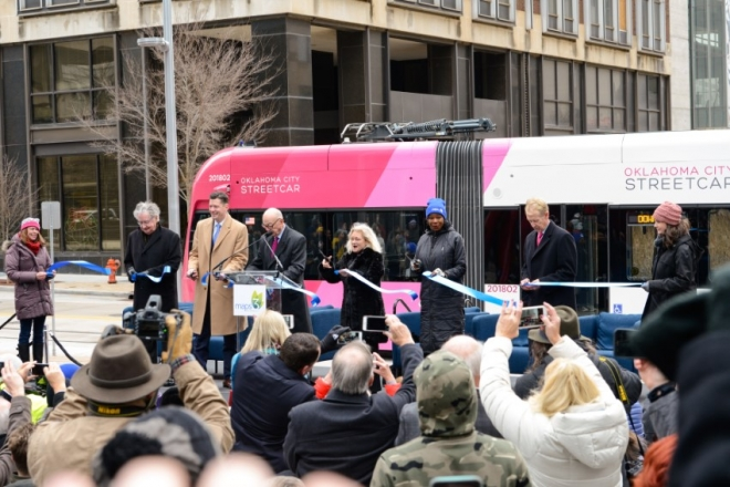 OKC Streetcar ribbon cutting