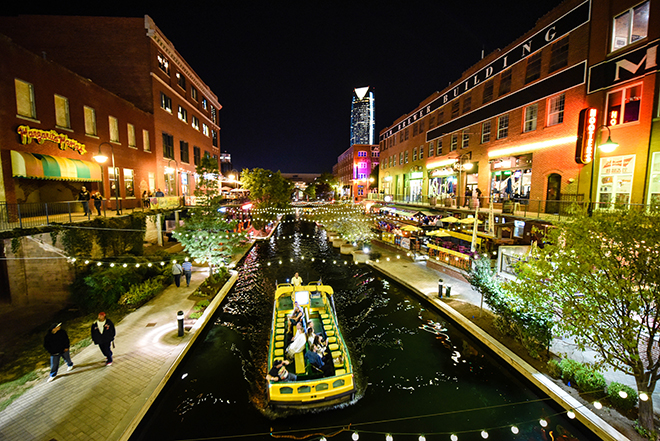Bricktown Water Taxi and Canal at Christmas