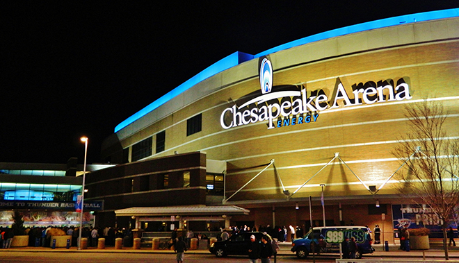 Chesapeake Energy Arena at night