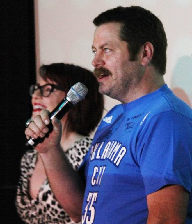 "Nick Offerman, right, and his wife, Oklahoma City native Megan Mullally, speak at deadCENTER Film Festival in 2012 about their film ""Somebody Up There Likes Me."" PHOTO PROVIDED BY deadCENTER."