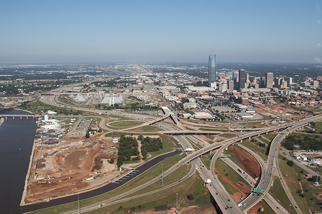 OKC Downtown Skyline and highway interchange