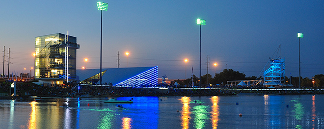 OKC Boathouse District at night