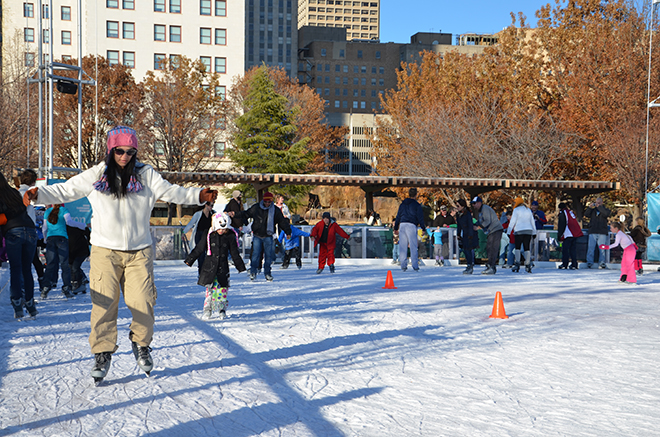 Downtown In December Ice Skating